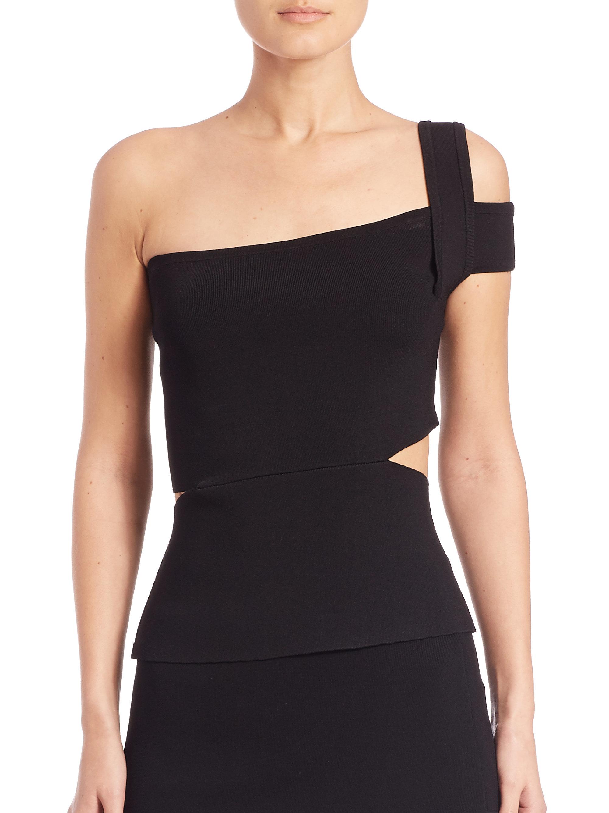 f31ce29ab9951 Lyst - Nicholas Knit One-shoulder Top in Black