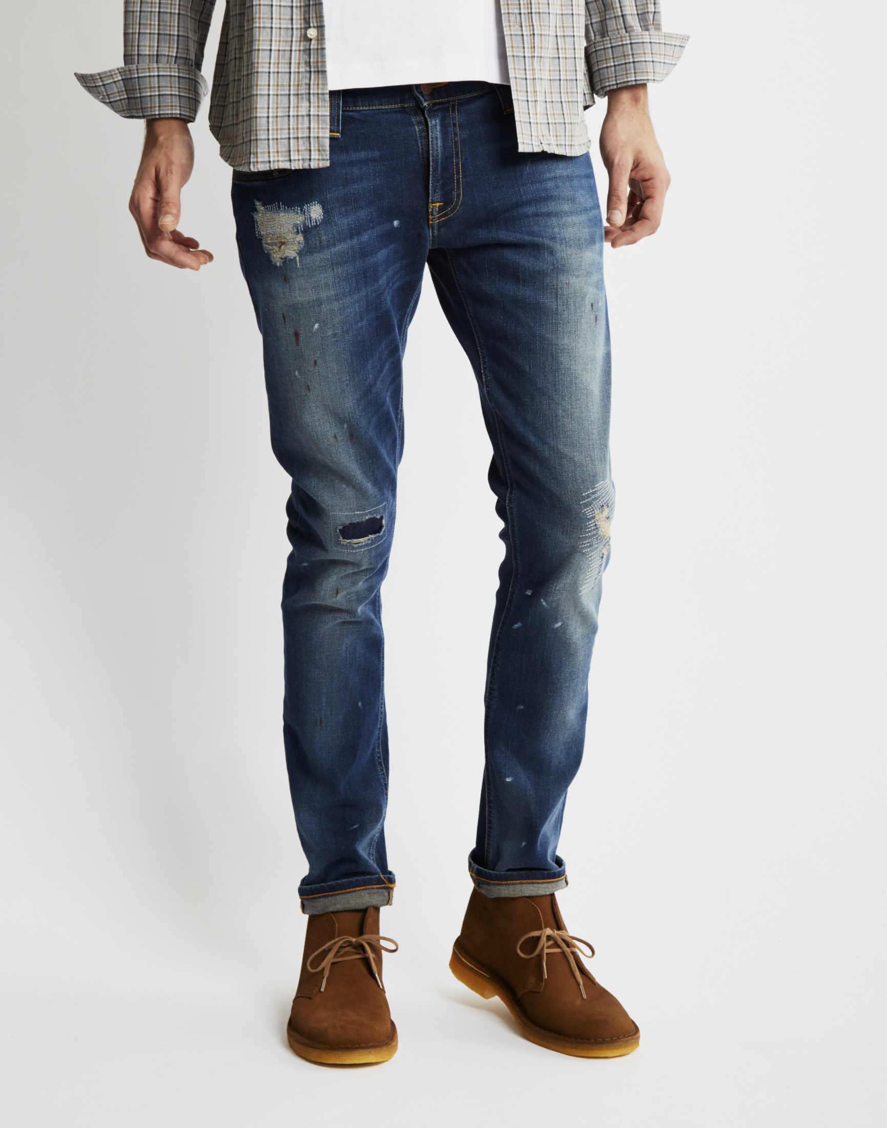 nudie jeans tight long john jacksson replica jeans in blue. Black Bedroom Furniture Sets. Home Design Ideas