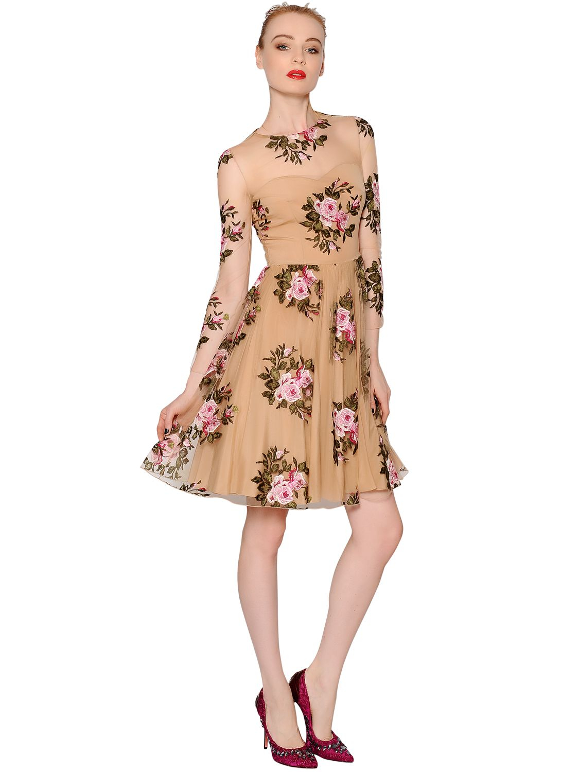 Blumarine floral embroidered viscose tulle dress in brown