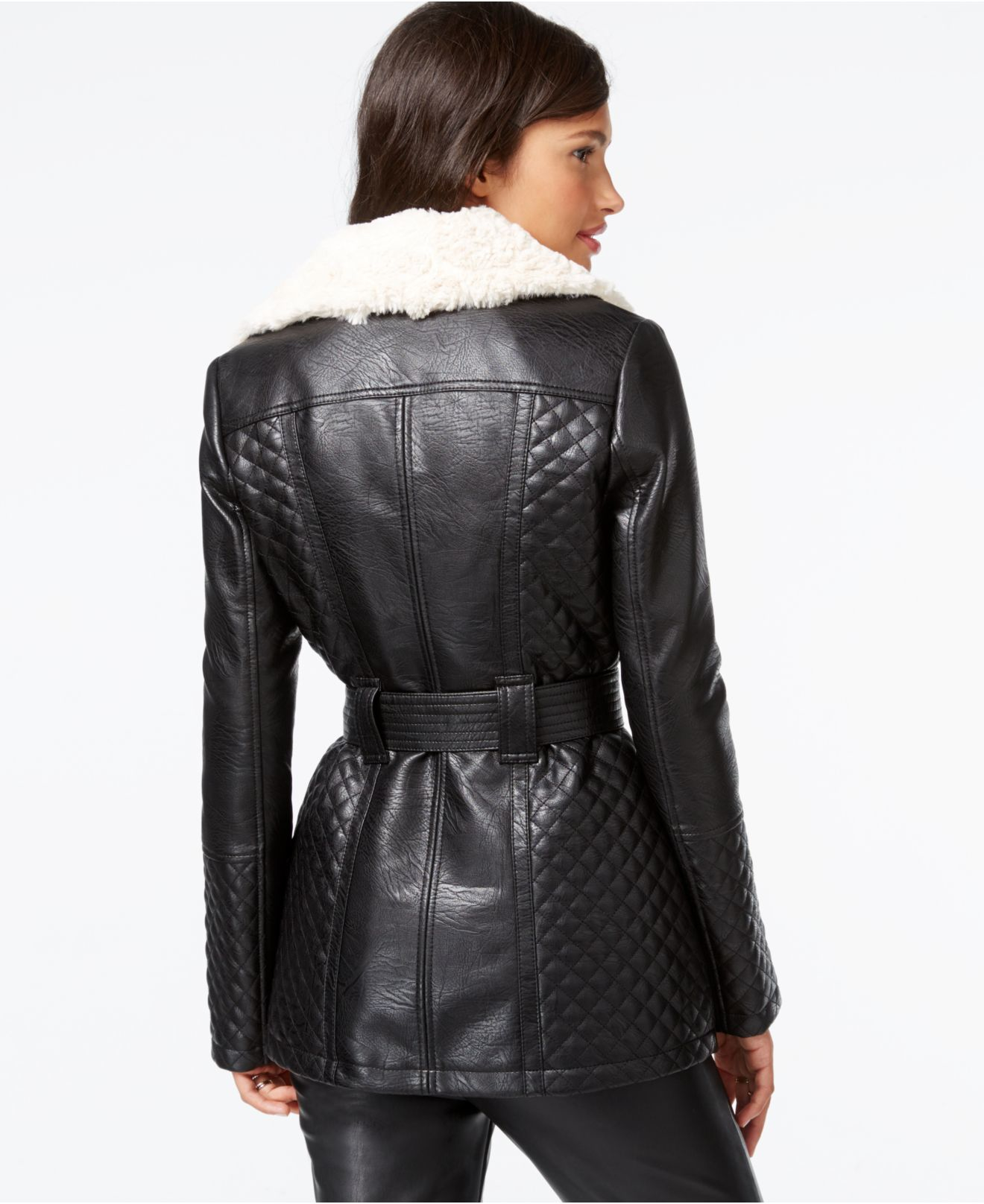 Guess Faux Fur Collar Quilted Faux Leather Jacket In Black