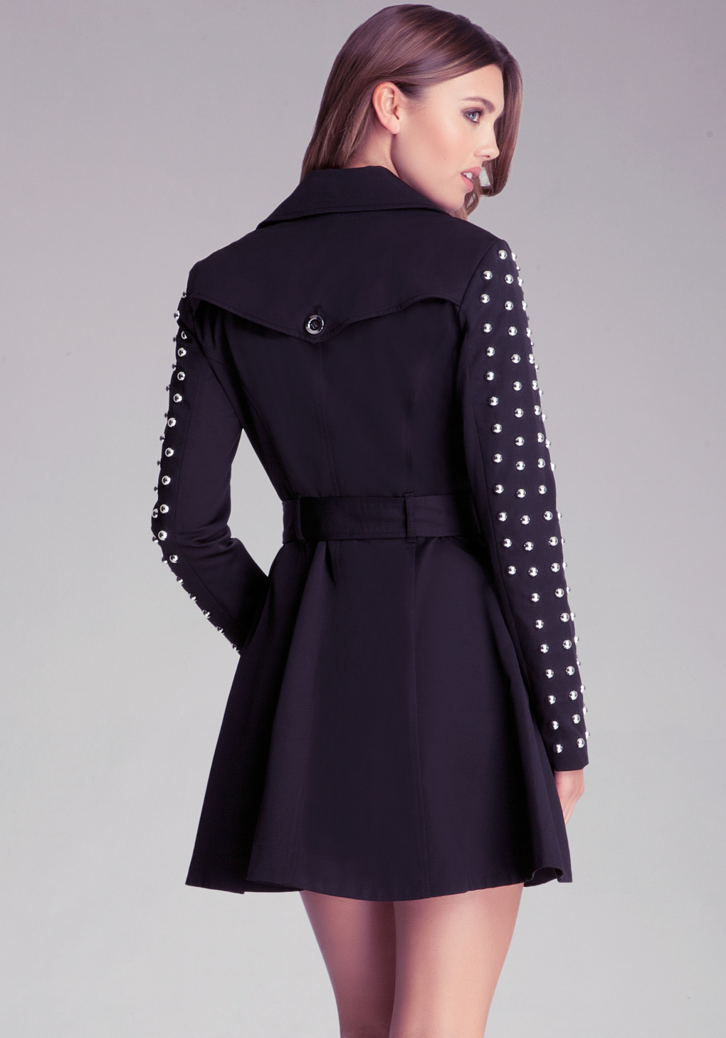 Bebe Studded Sleeve Flared Trench In Gray Lyst