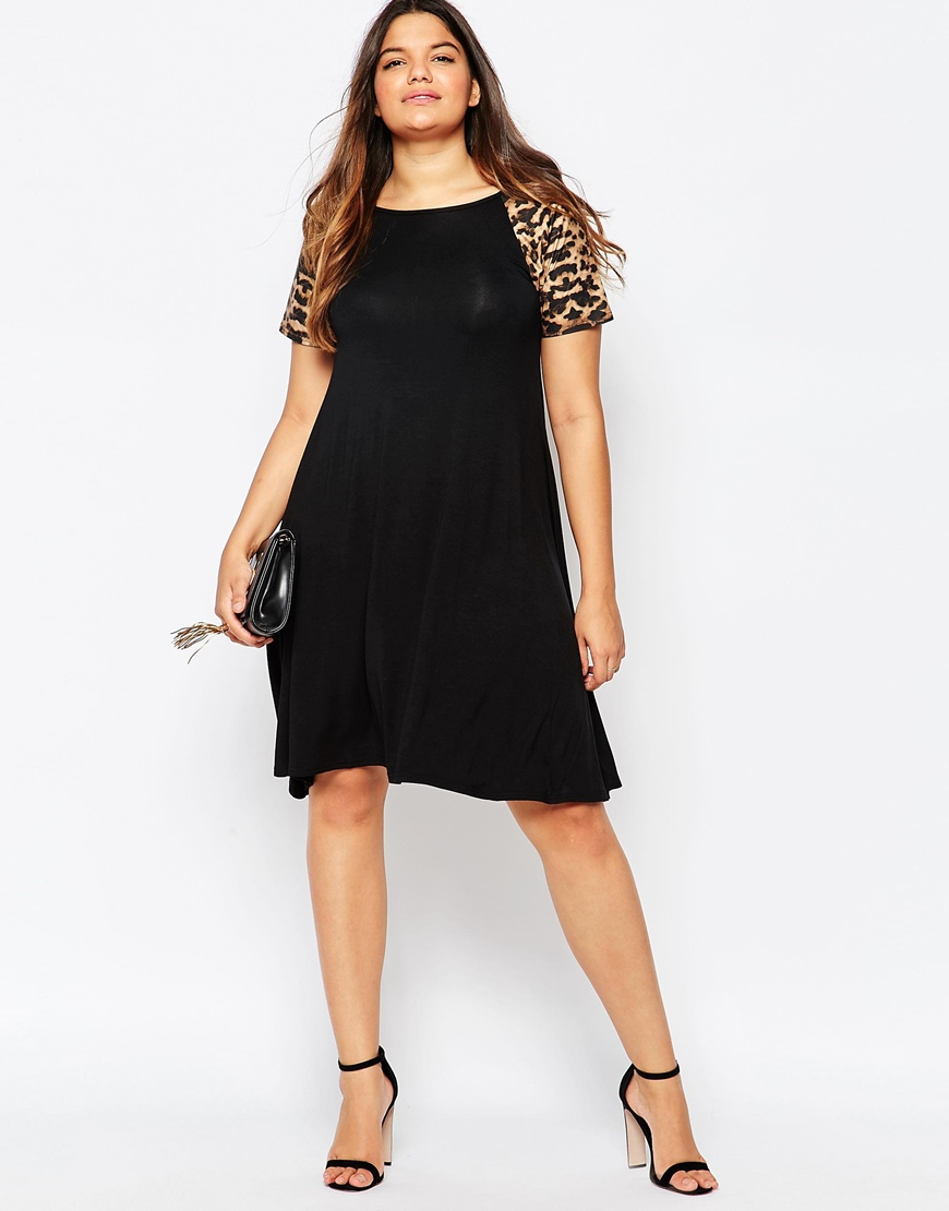 Club l Plus Size Swing Dress With Pu Leopard Print Sleeves in ...