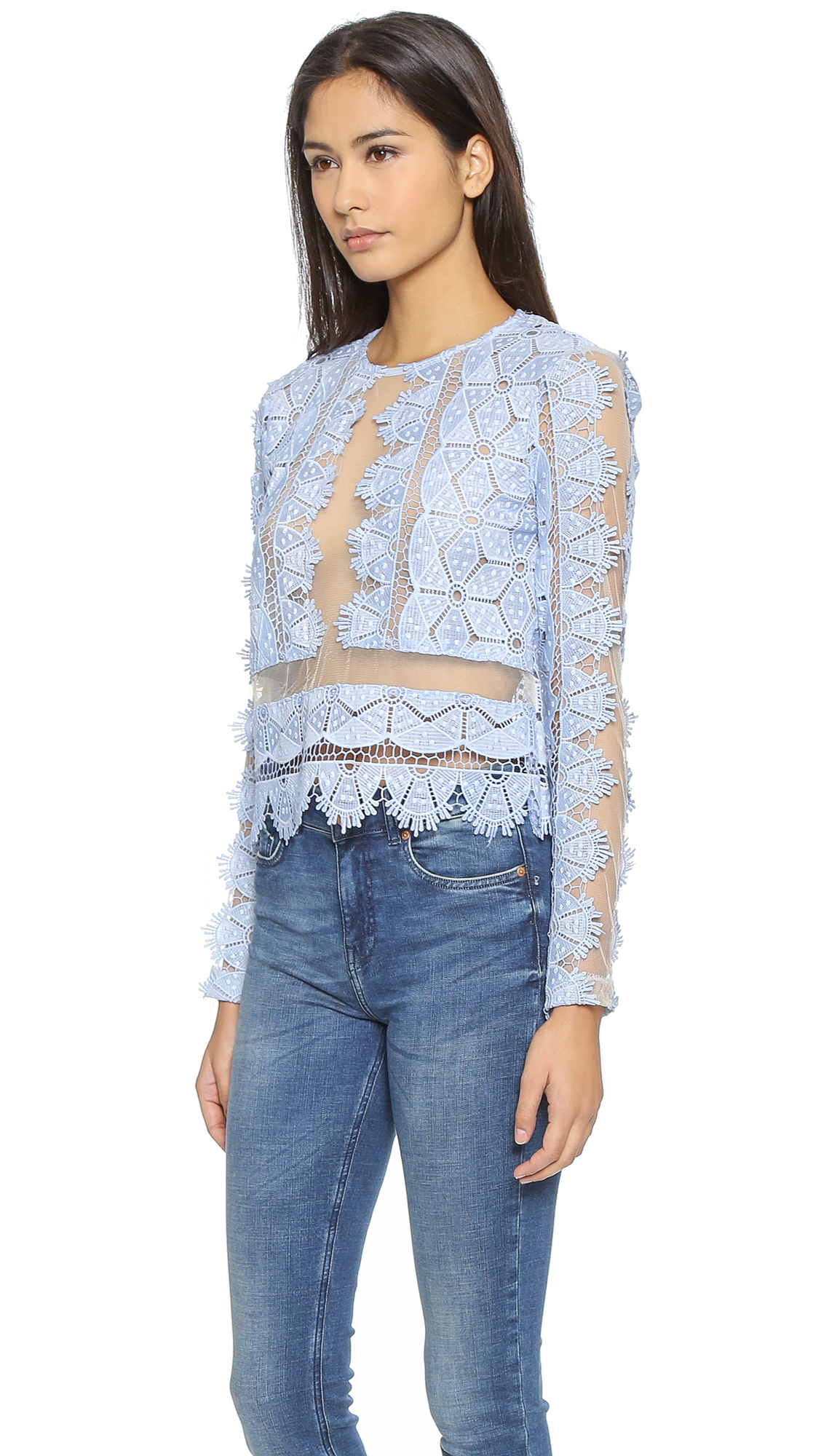 bbb6713510 Endless Rose Lace Blouse in Blue - Lyst
