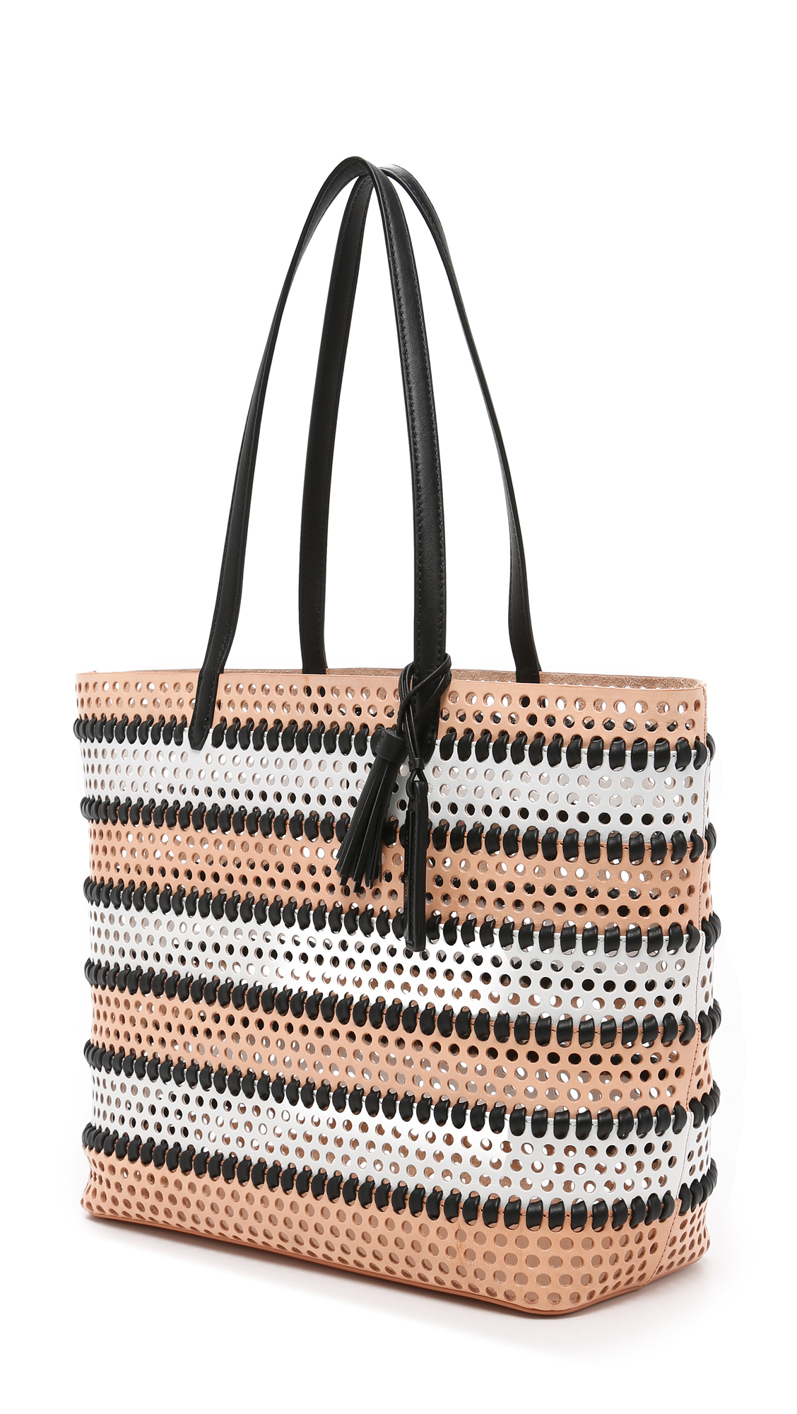 Loeffler Randall Leather Perforated Beach Tote in Nude/White/Black (Natural)
