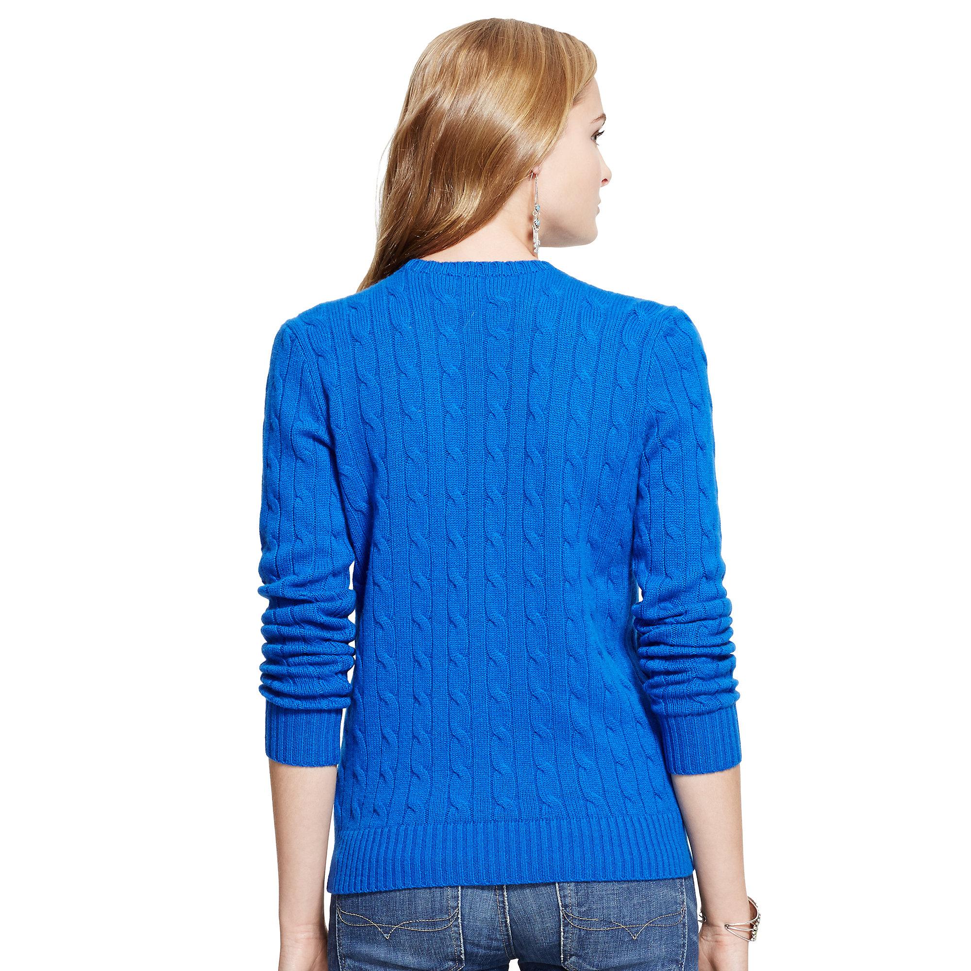 ralph lauren blue slim fit cabled cashmere lyst. Black Bedroom Furniture Sets. Home Design Ideas