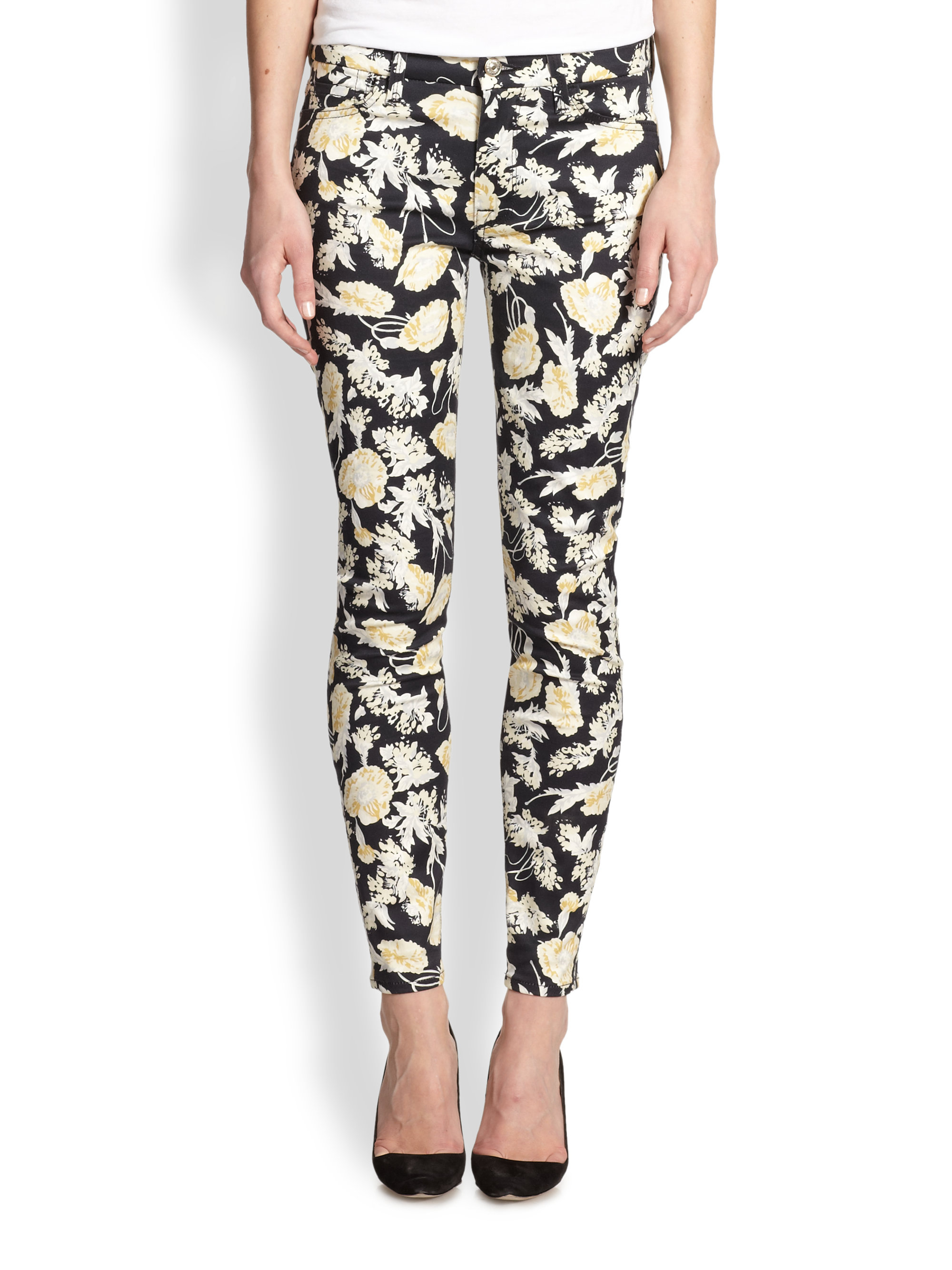7 For All Mankind Skinny 28 Floral Print Jeans In Black