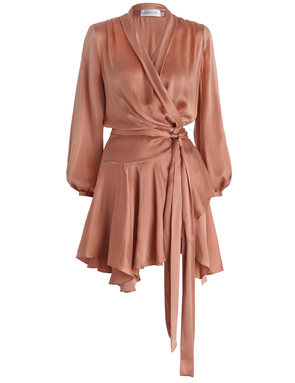 Zimmermann Silk Empire Sueded Robe Dress In Orange Lyst