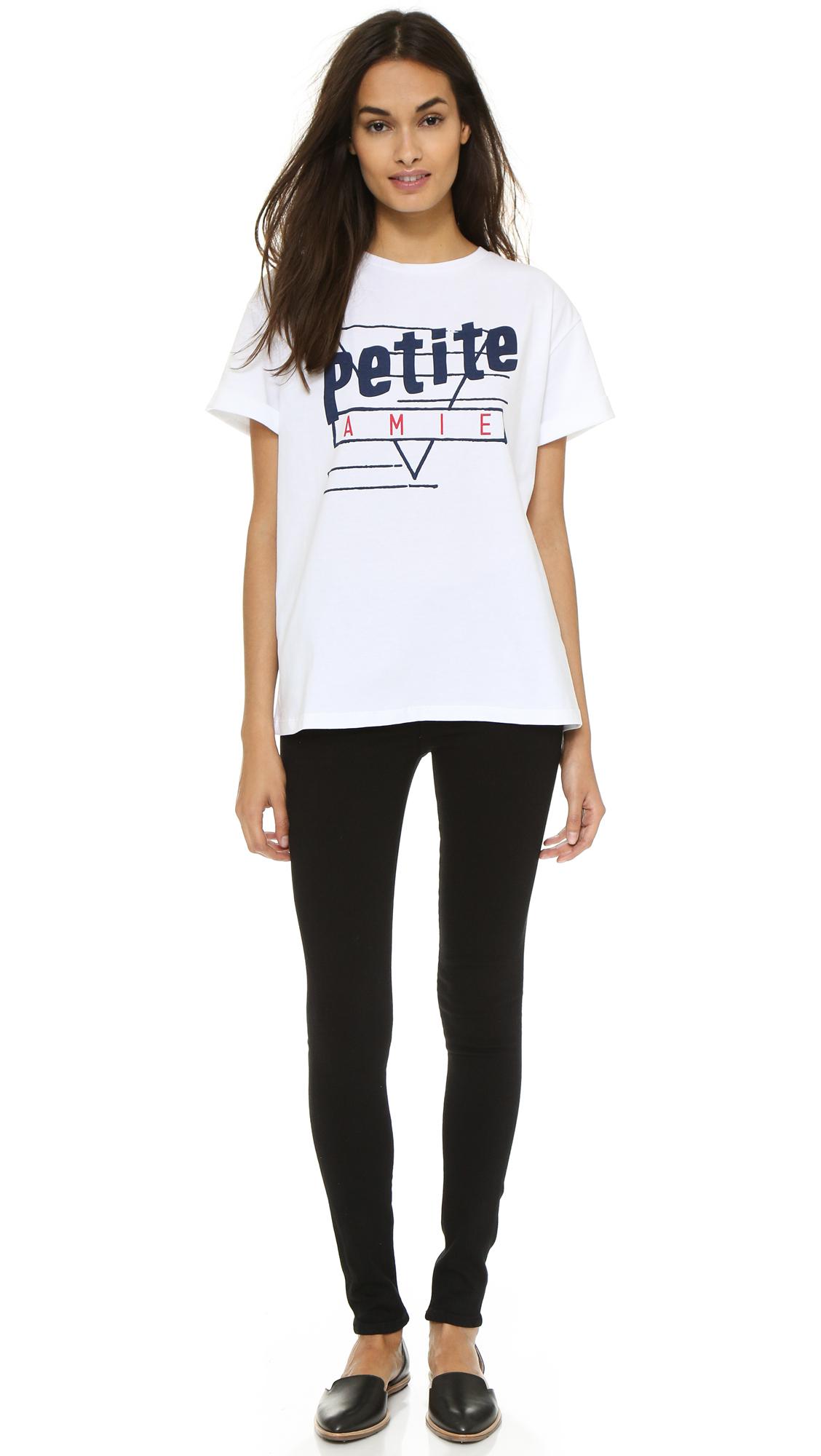 Lyst tre c cile petite amie oversized t shirt white for Petite white tee shirt