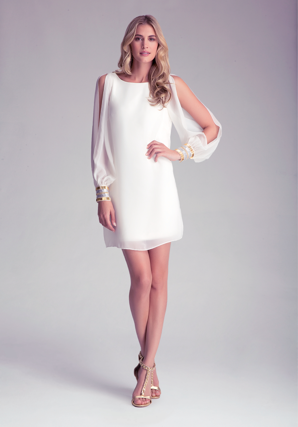 lyst bebe bell sleeve mini dress in white. Black Bedroom Furniture Sets. Home Design Ideas