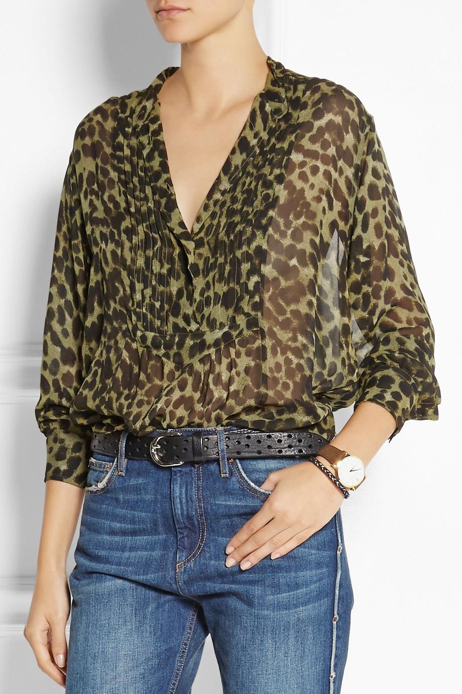 7695d6cd08b5 Étoile Isabel Marant Charley Leopard-Print Chiffon Blouse in Green - Lyst