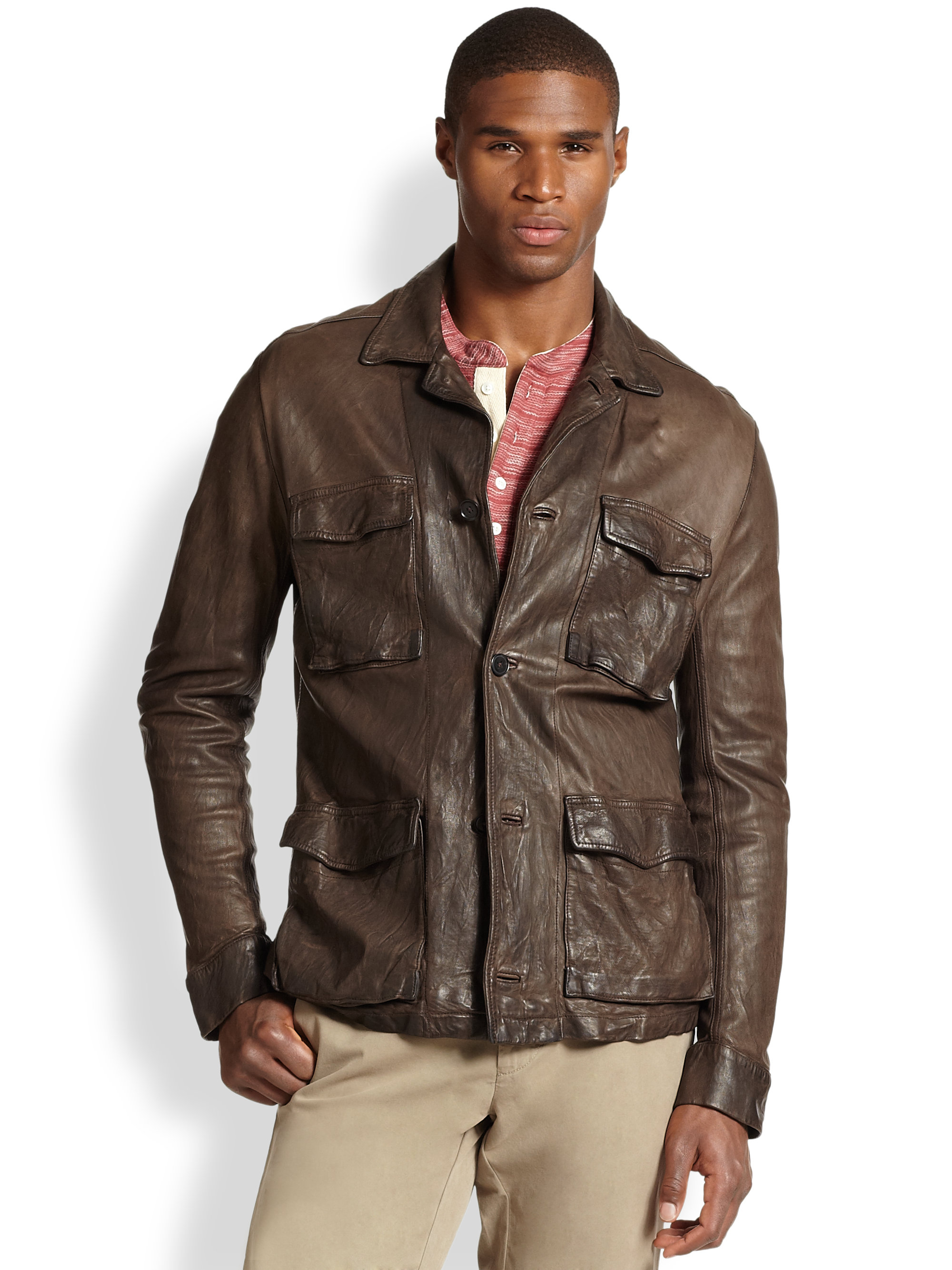 Billy reid military leather shirt jacket in brown for men for Leather jacket and shirt