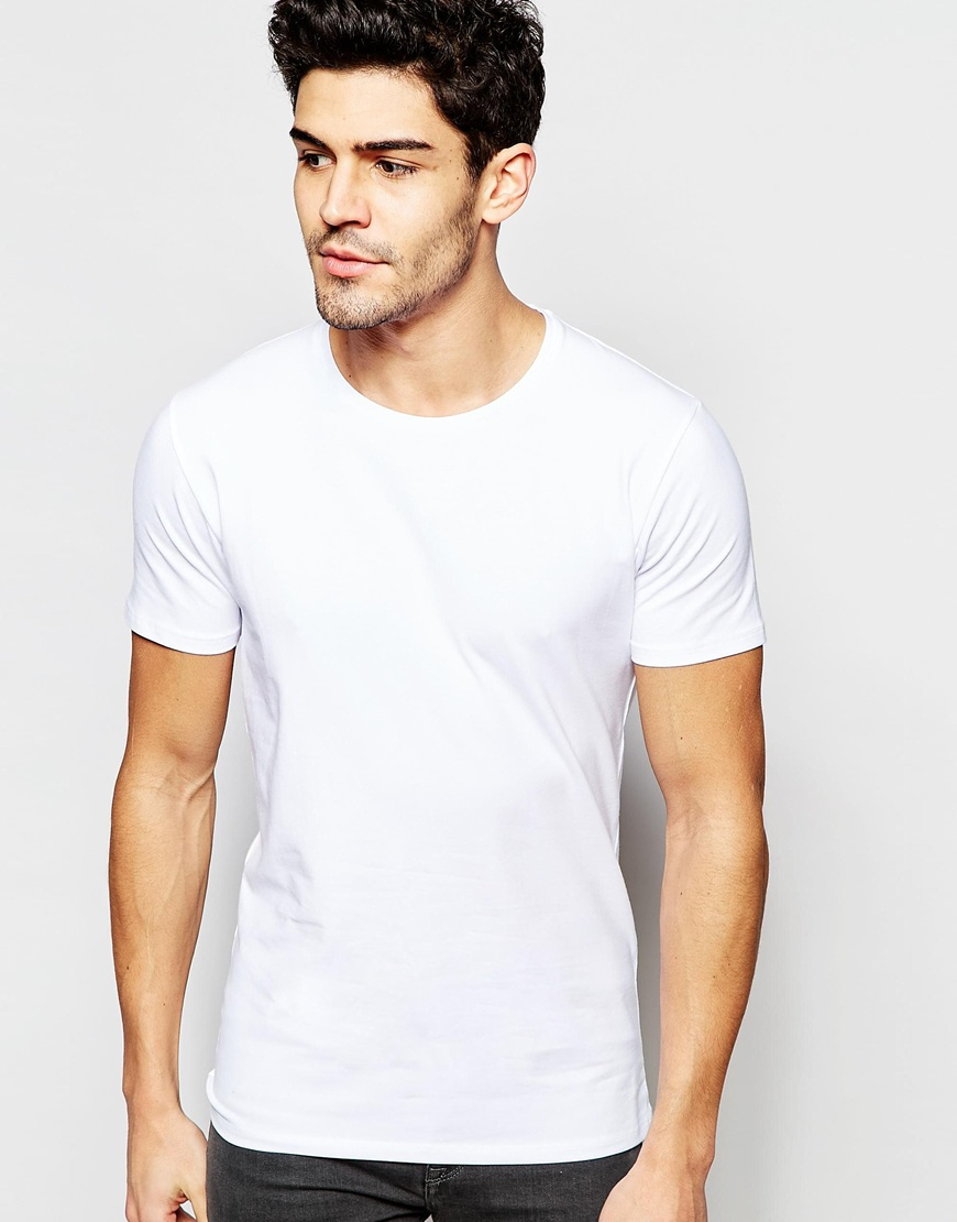 Selected crew neck t shirt in pima cotton in white for men for Pima cotton crew neck t shirt