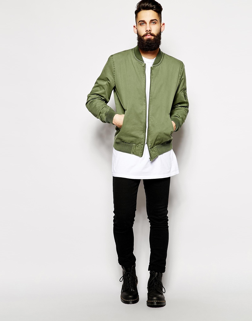 Asos Bomber Jacket in Green for Men | Lyst