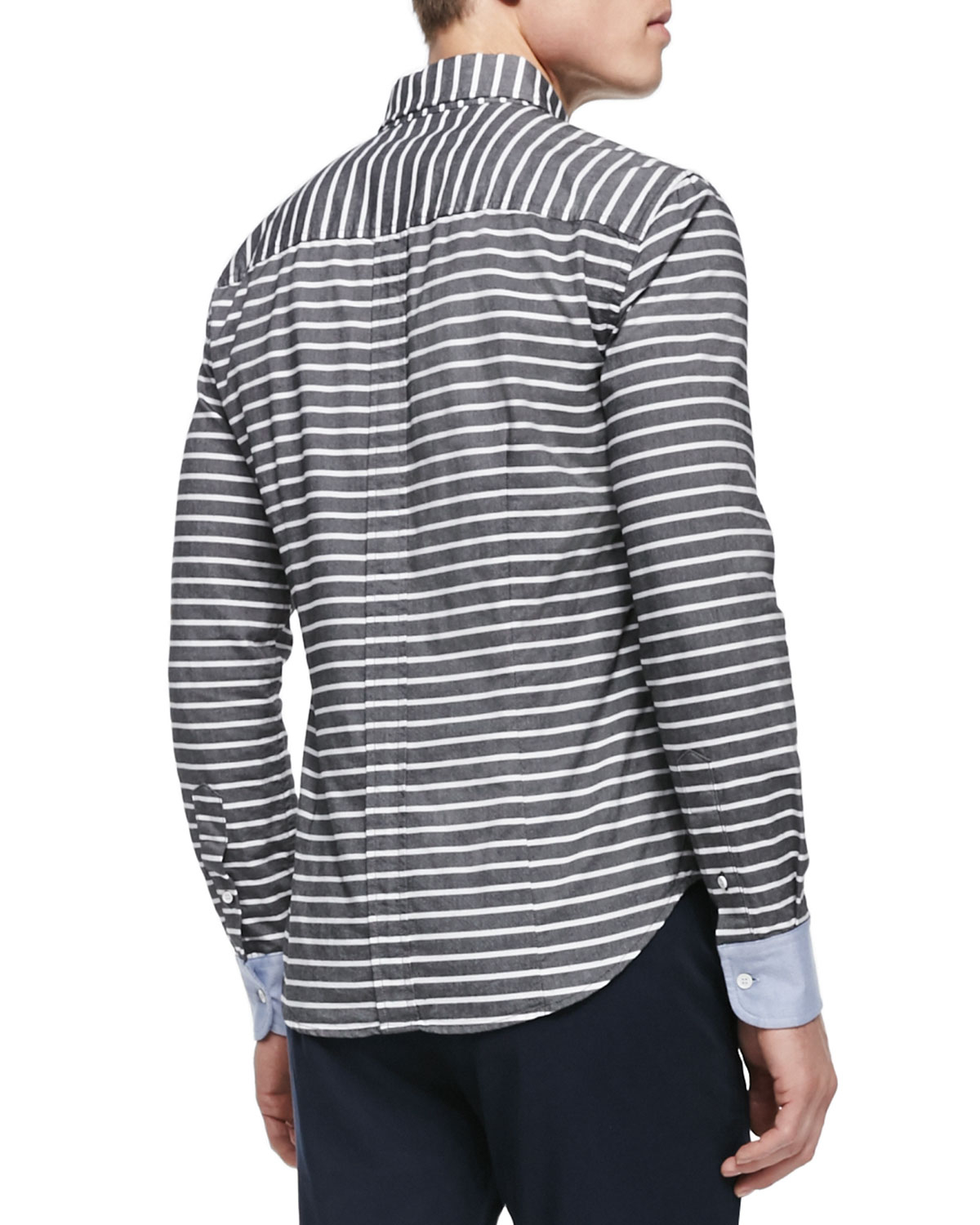 Band of outsiders Horizontal-Stripe Button-Down Shirt in Black for ...