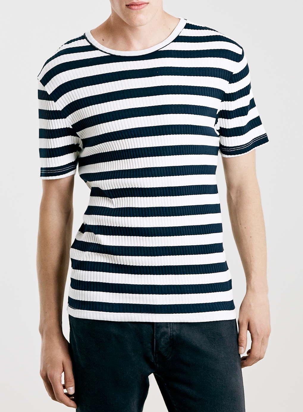 Topman Ecru And Navy Striped T Shirt In Beige For Men