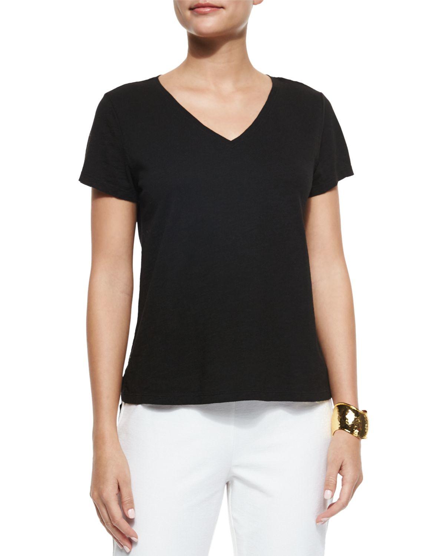 Eileen fisher short sleeve organic cotton tee in black lyst for Eileen fisher organic cotton t shirt