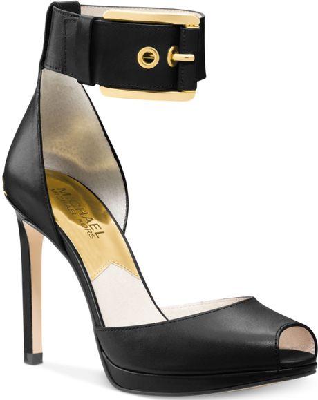 black leather ankle strap pumps images