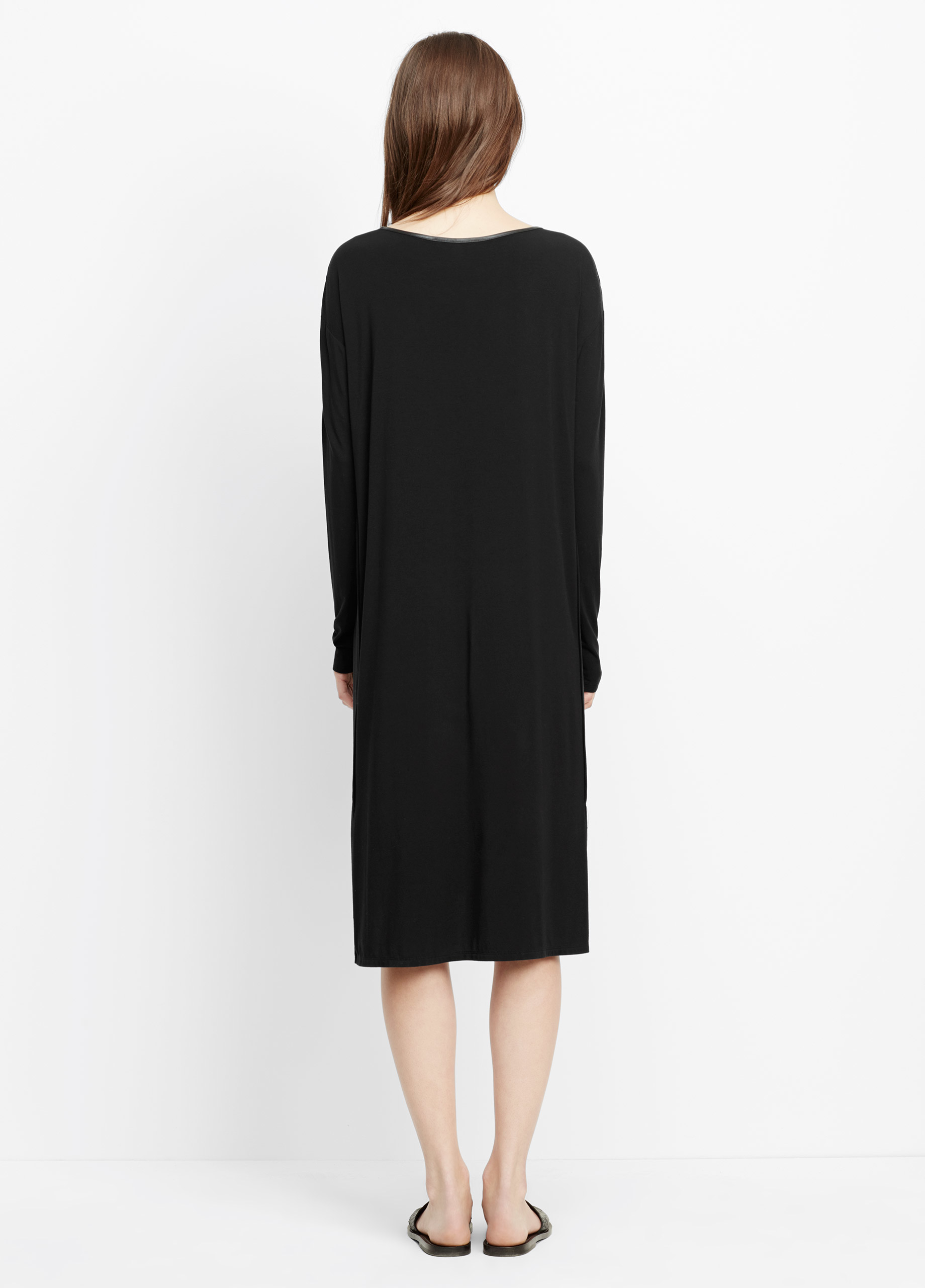 Vince Luxe Cotton Blend Long Sleeve T-shirt Dress With ...