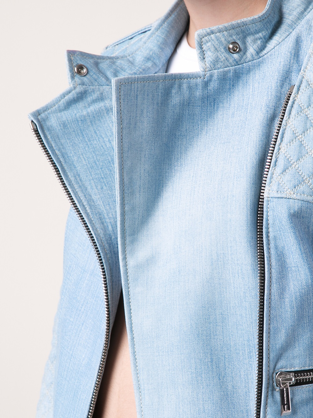 Barbara Bui Quilted Denim Illusion Jacket In Blue Lyst