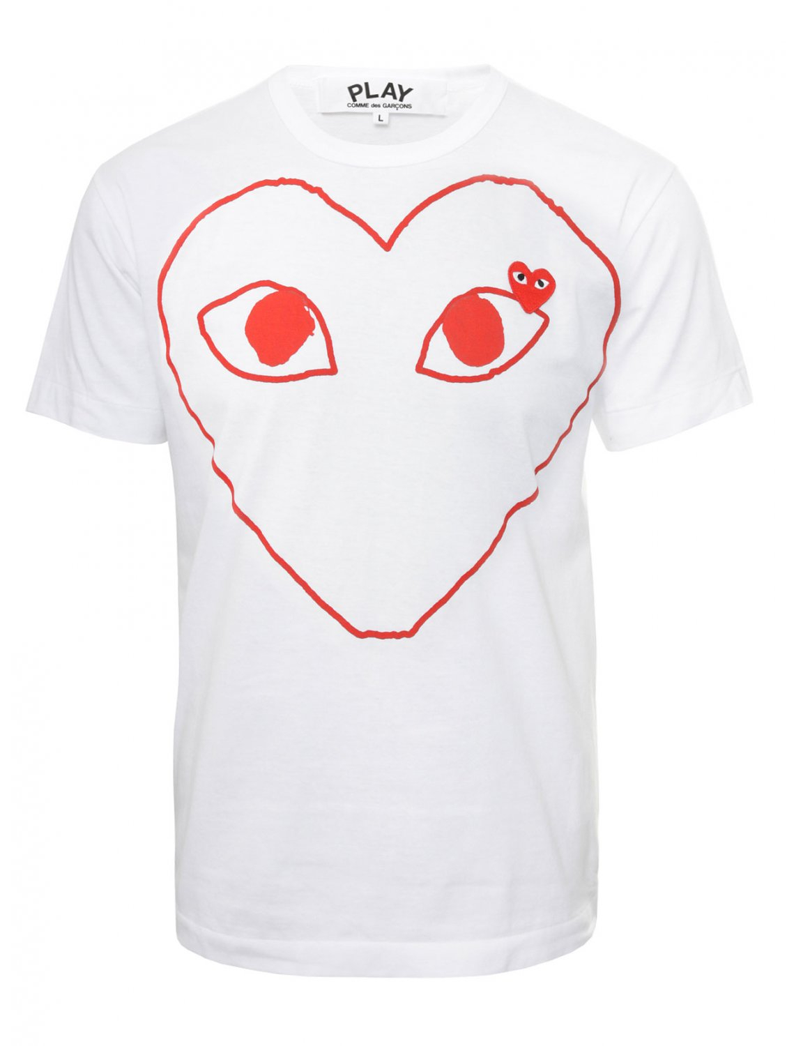 Comme Des Gar Ons Play Mens Red Heart Outline T Shirt