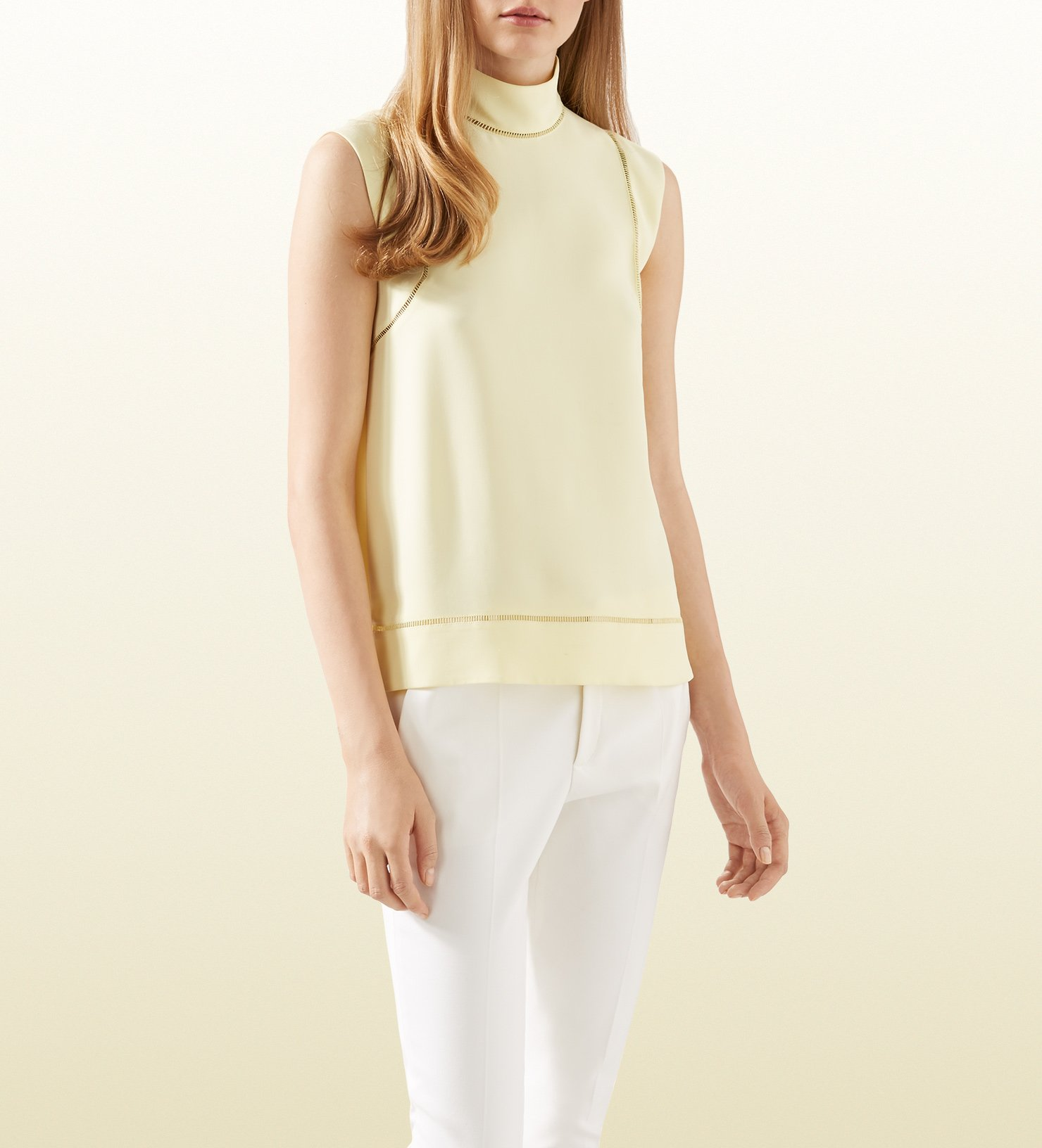 52ccb068 Gucci Pale Yellow Silk Cady Top in Yellow - Lyst
