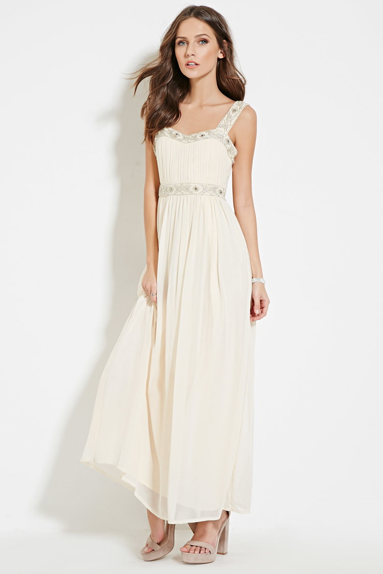 32057310cf7 Lyst - Forever 21 Beaded Maxi Dress in Pink