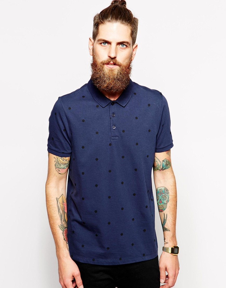 Asos Polo Shirt With Large Polka Dot Print In Blue For Men