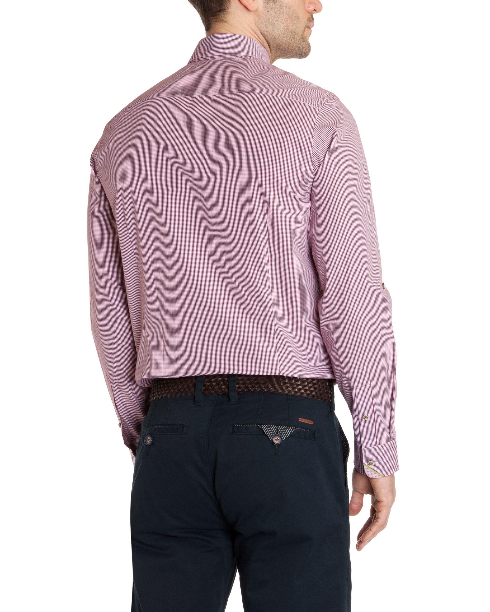 Lyst ted baker soft check long sleeve shirt in pink for men for Mens dark pink dress shirt