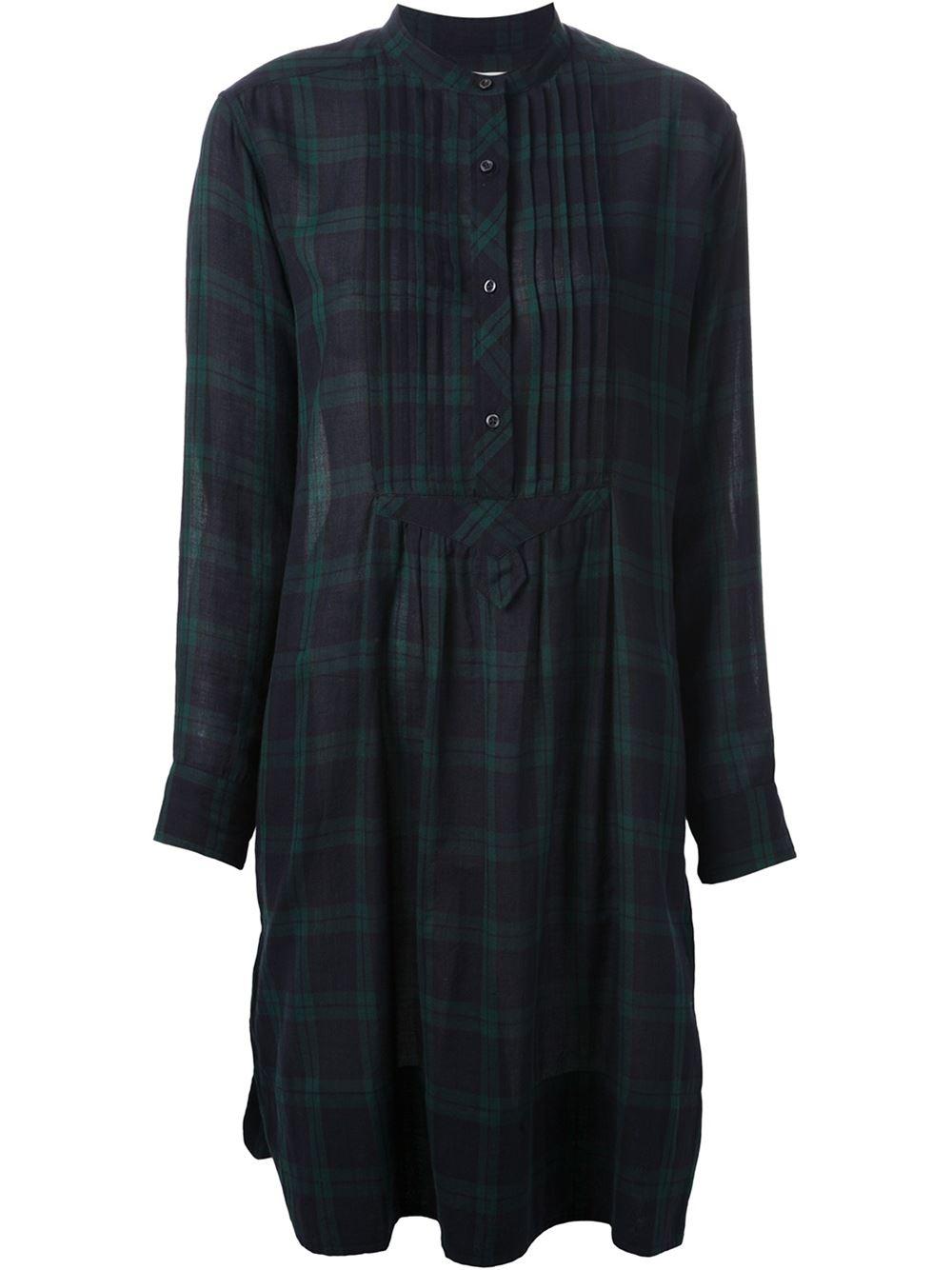Toile isabel marant ilaria shirt dress in green lyst for Isabel marant shirt dress