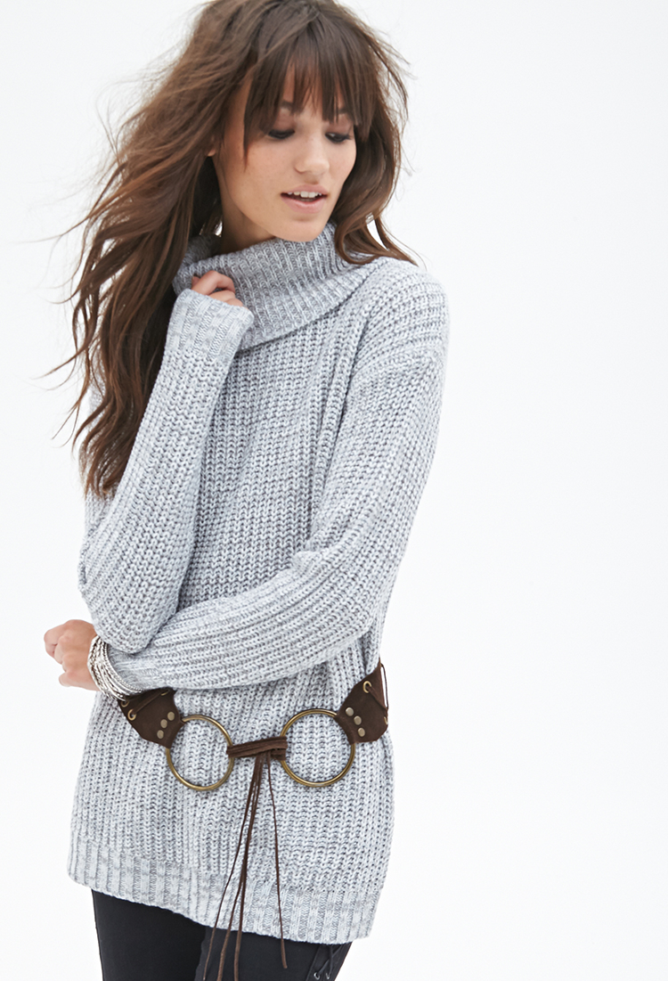 Forever 21 Waffle Knit Turtleneck Sweater in Gray , Lyst