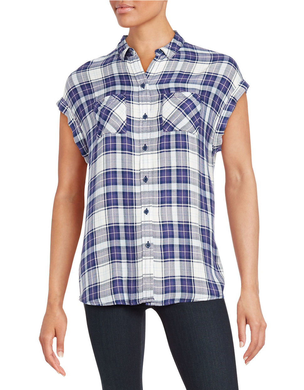 Beach Lunch Lounge Plaid Dolman Sleeved Top In Blue Lyst