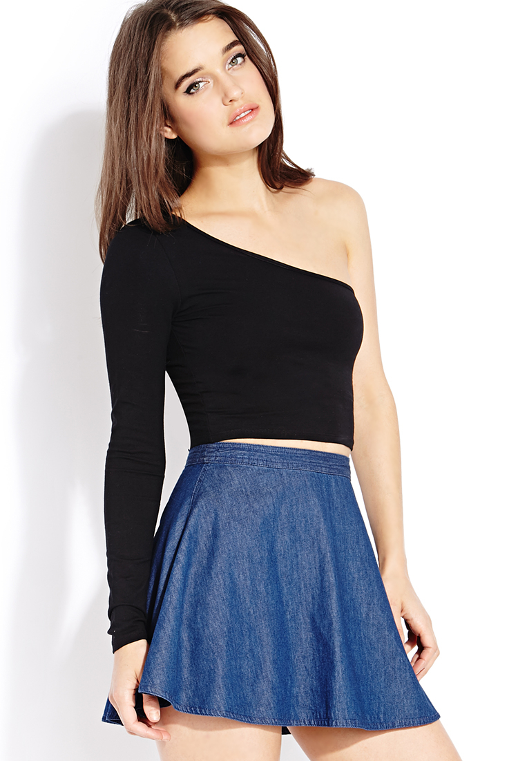 b0543c297aa1b Lyst - Forever 21 Standout One-shoulder Crop Top in Black