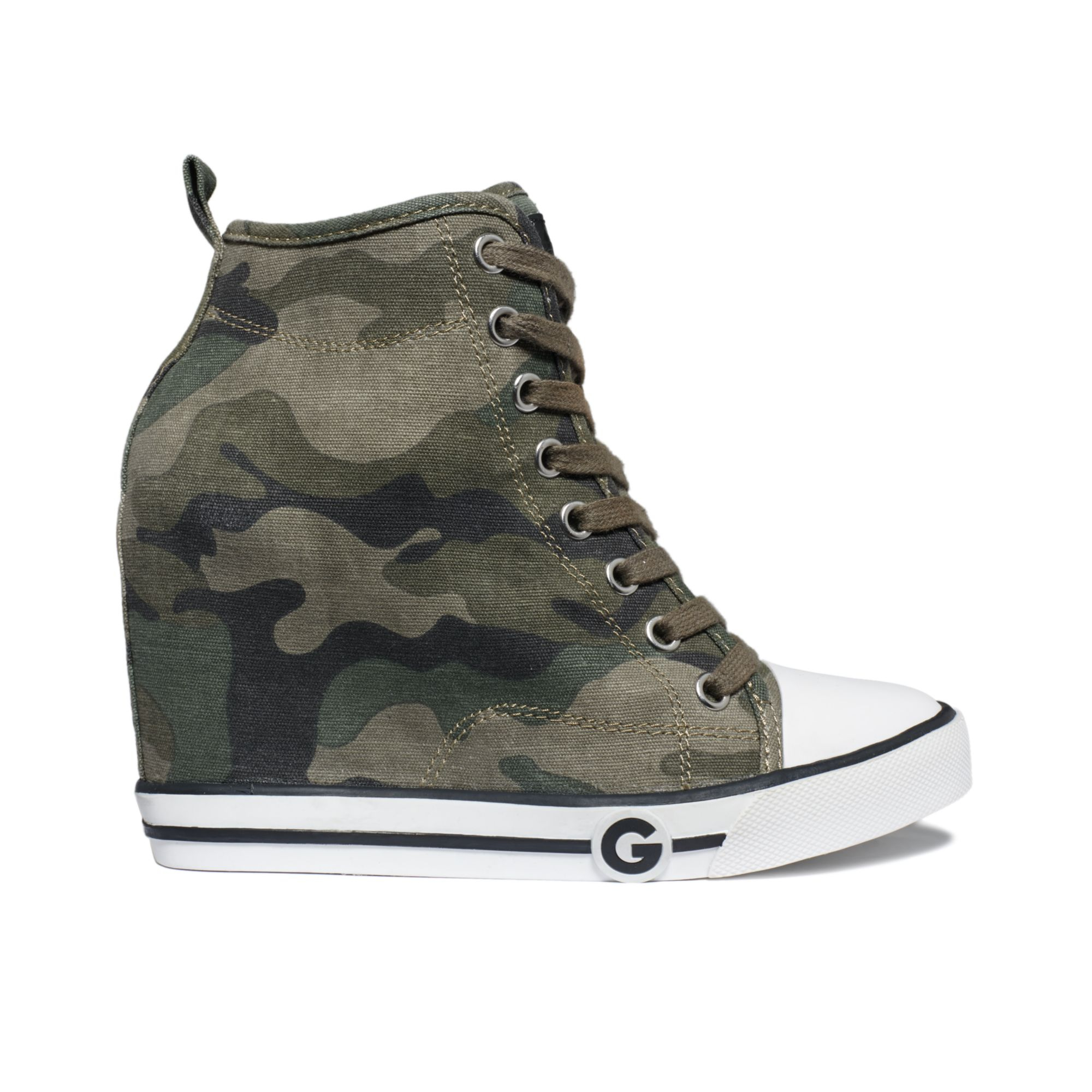 9311040241419 G by Guess Womens Majestey Wedge High Top Sneakers in Green - Lyst