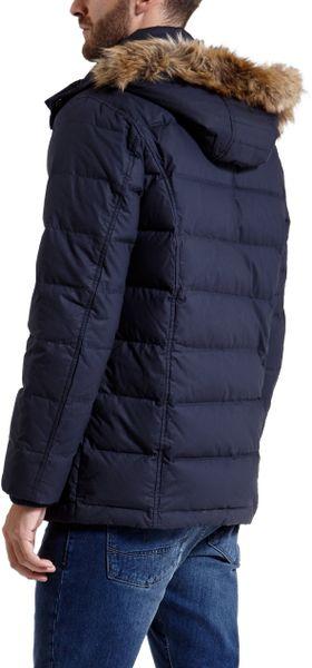 Ted Baker Mentz Down Filled Hooded Coat In Blue For Men Lyst