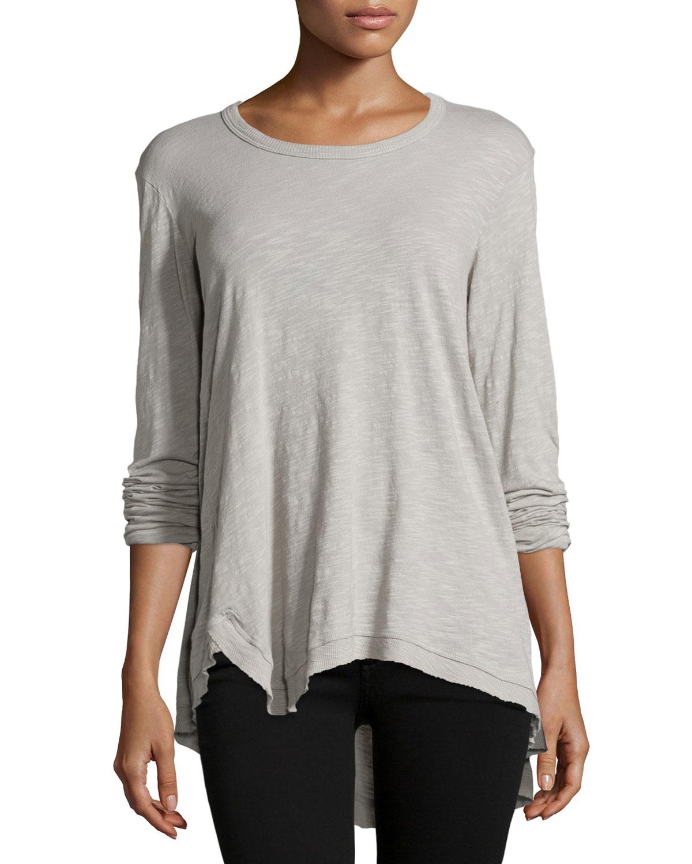 Lyst Jethro Long Sleeve Asymmetric Tunic Top In Gray