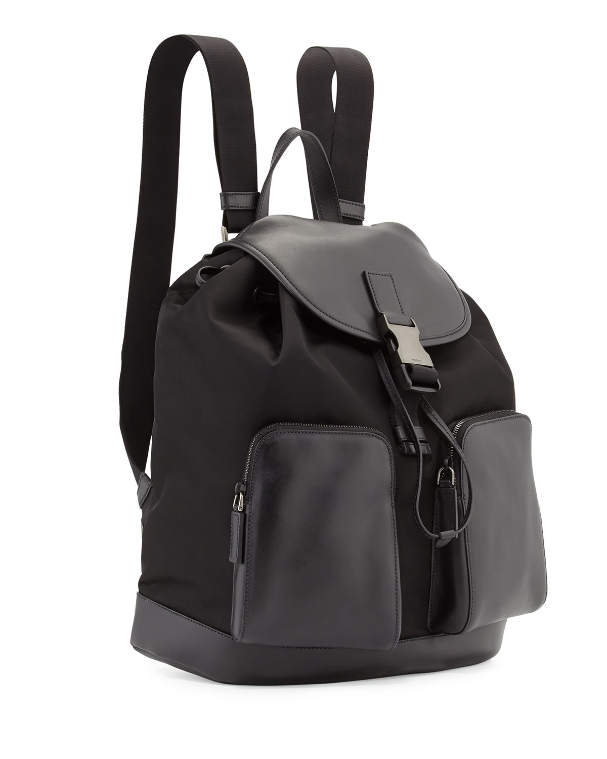 05c271999a8d Prada Leather Backpack With Nylon Trim in Black for Men | Lyst