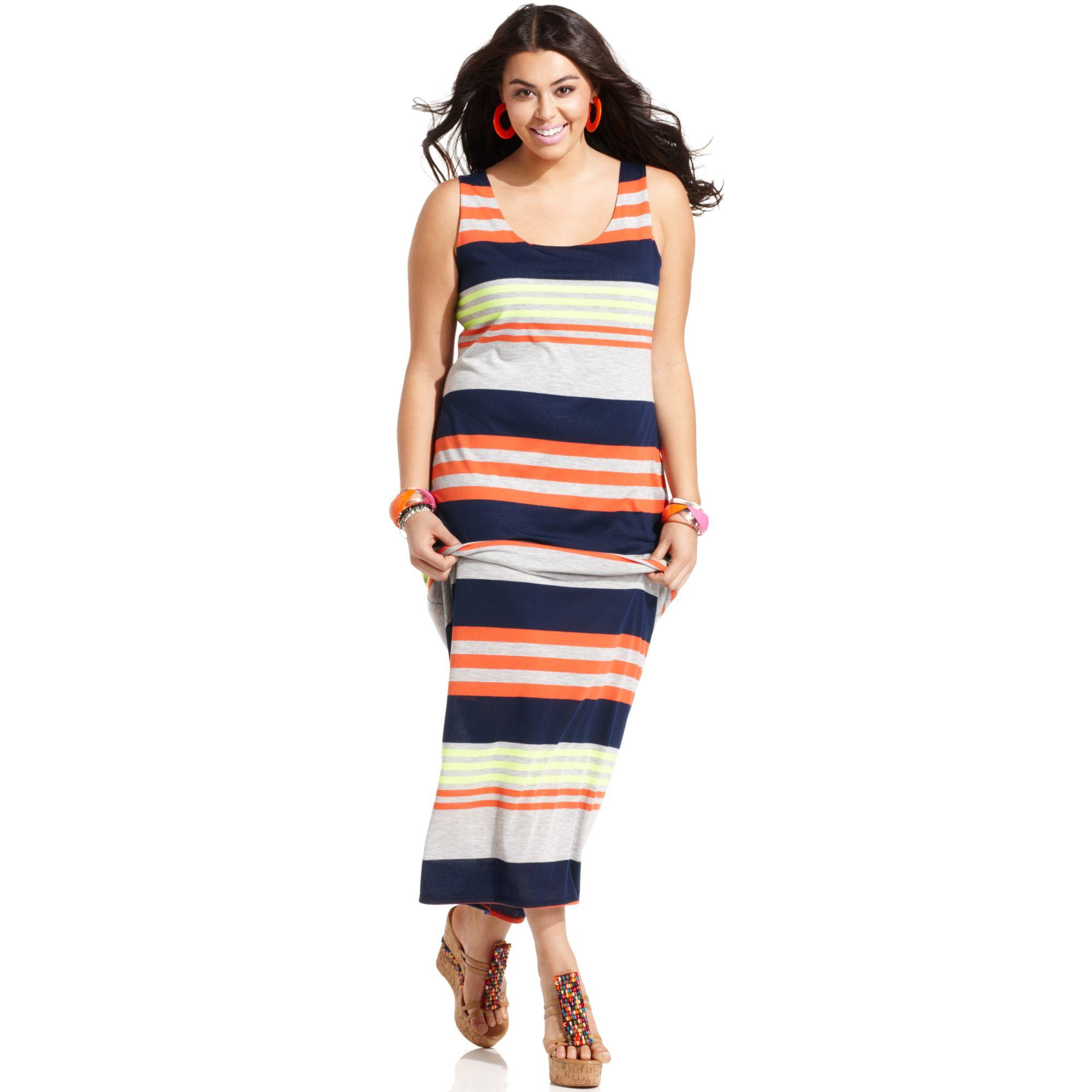 Plus Size Sleeveless Striped Maxi Dress