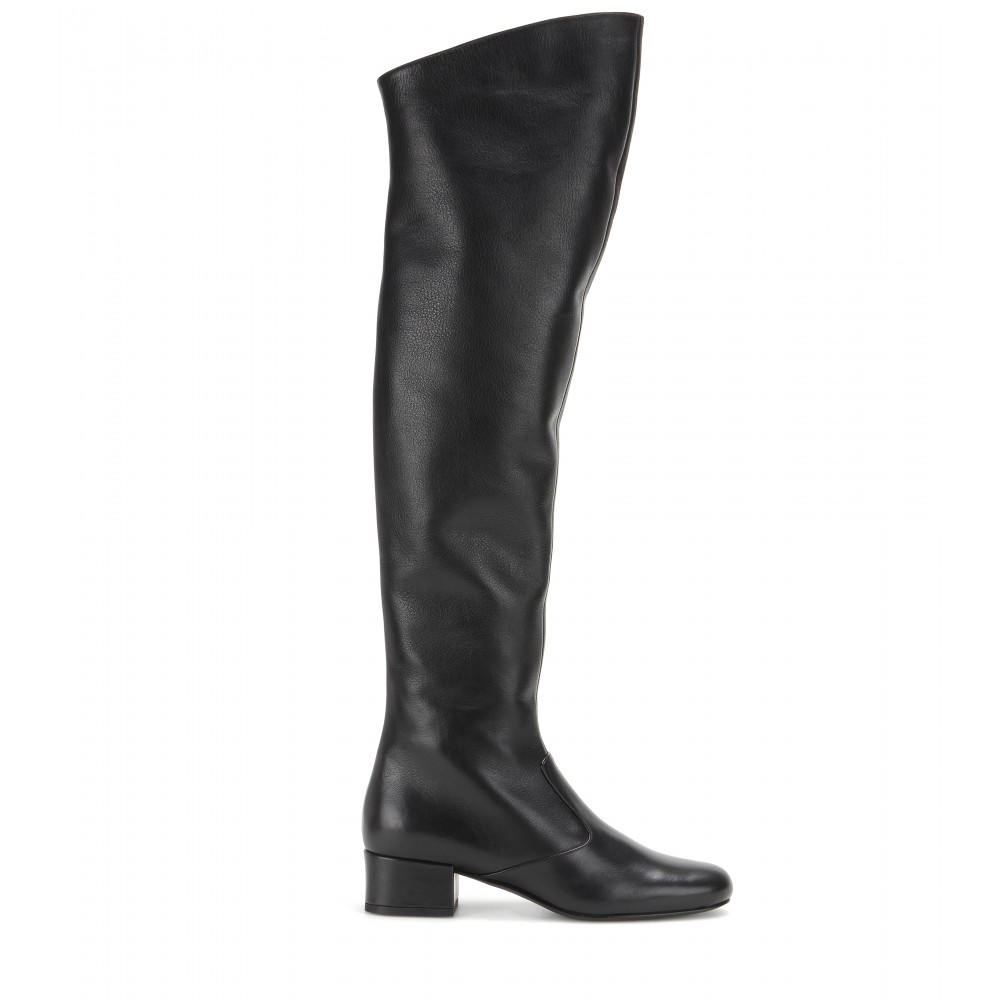 b6a01a576e7 Saint Laurent Babies Leather Over-The-Knee Boots in Black - Lyst