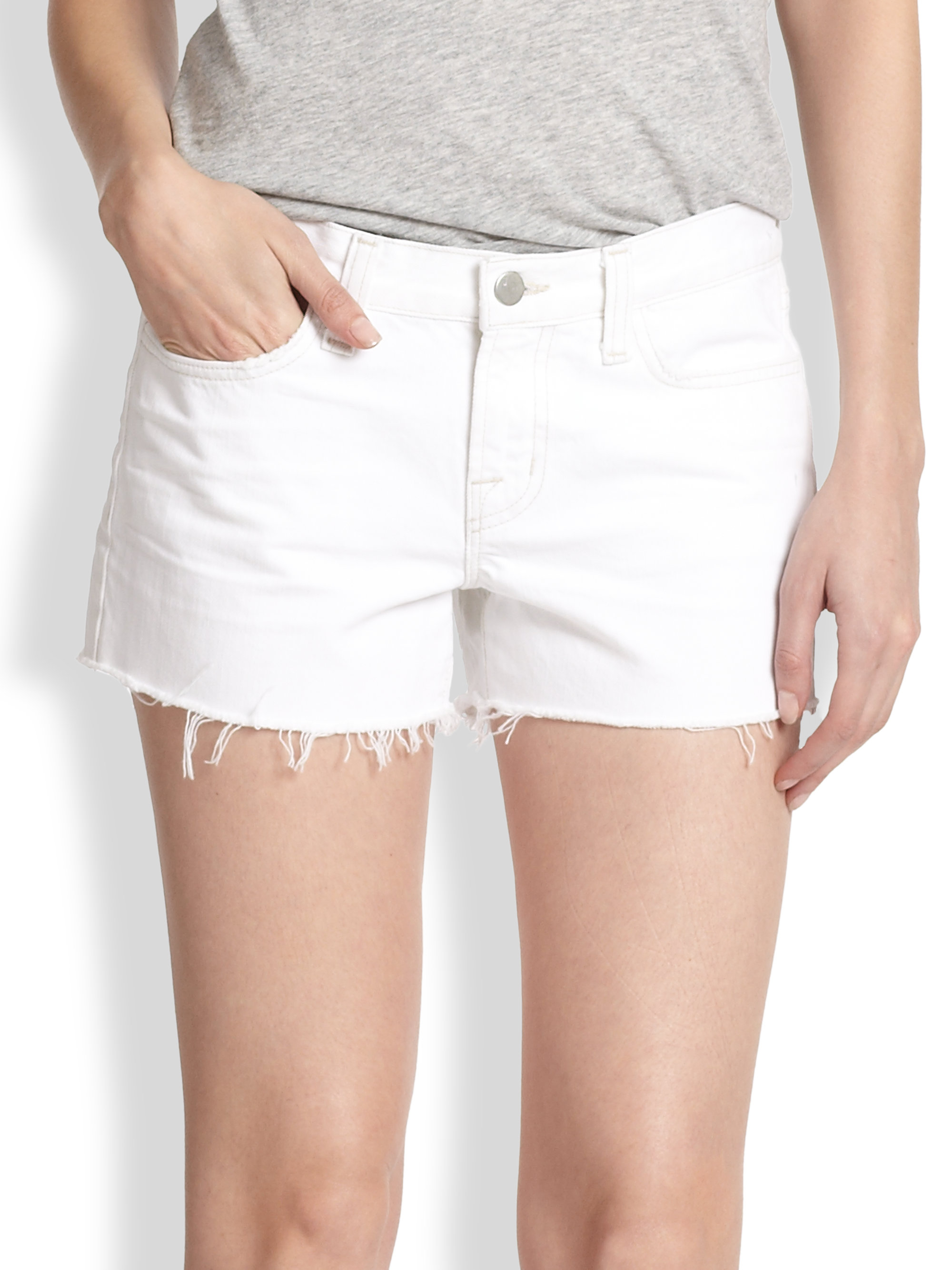 J brand Low-rise Cut-off Denim Shorts in White | Lyst