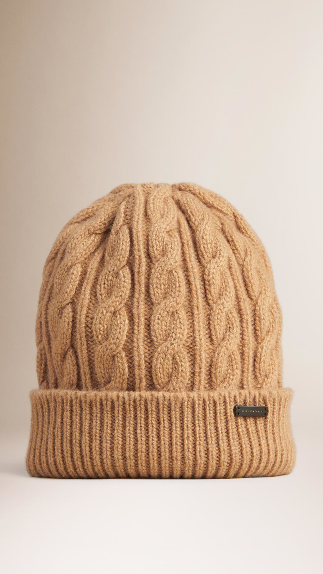 Knitting Patterns Cashmere Wool : Burberry Cable Knit Wool Cashmere Beanie in Natural Lyst