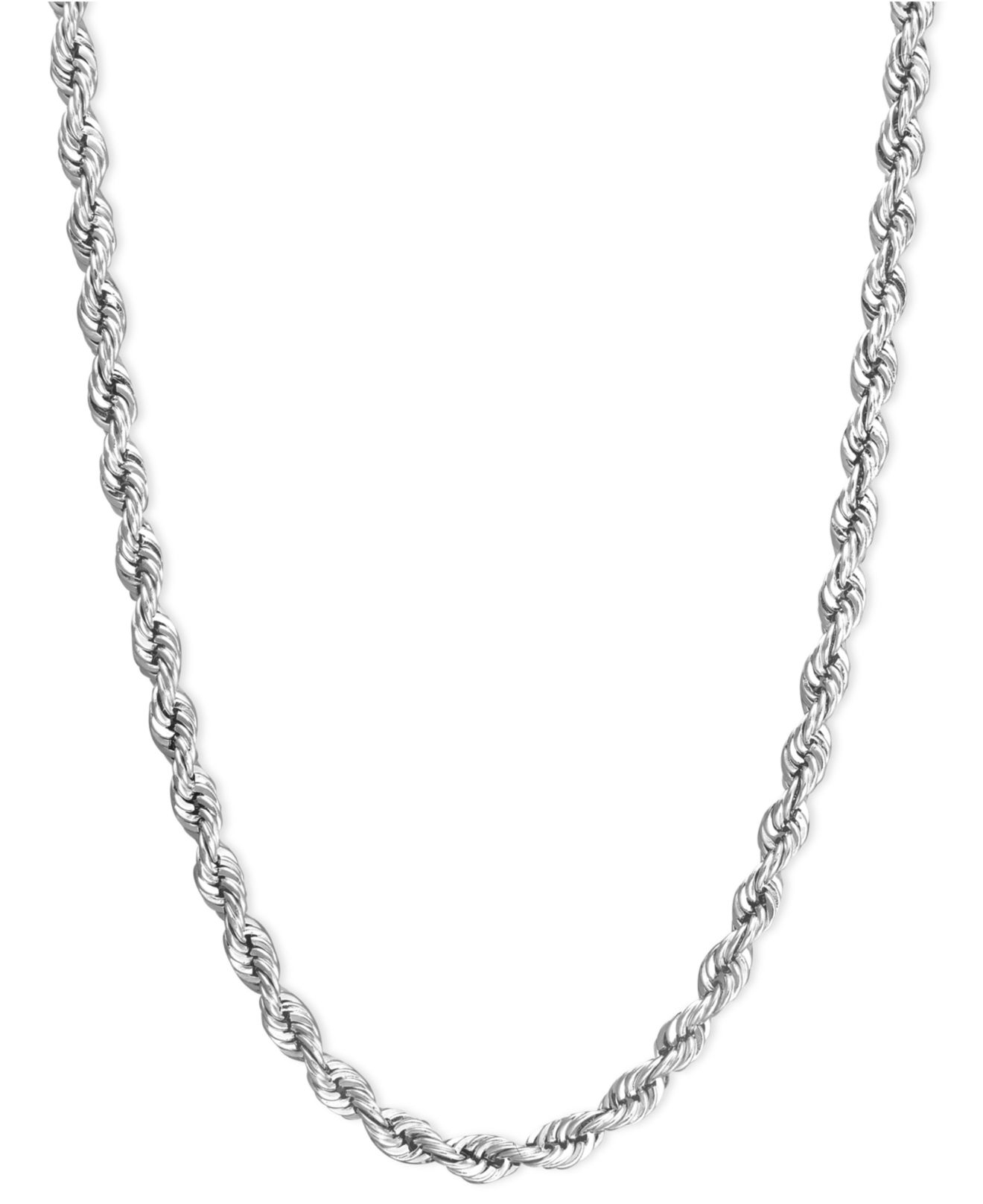 Macy's Rope Chain Necklace In 14k White Gold 2mm in Silver ...