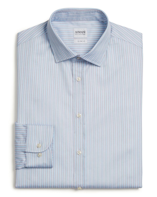 Lyst armani stripe dress shirt regular fit in blue for men for Regular fit dress shirt