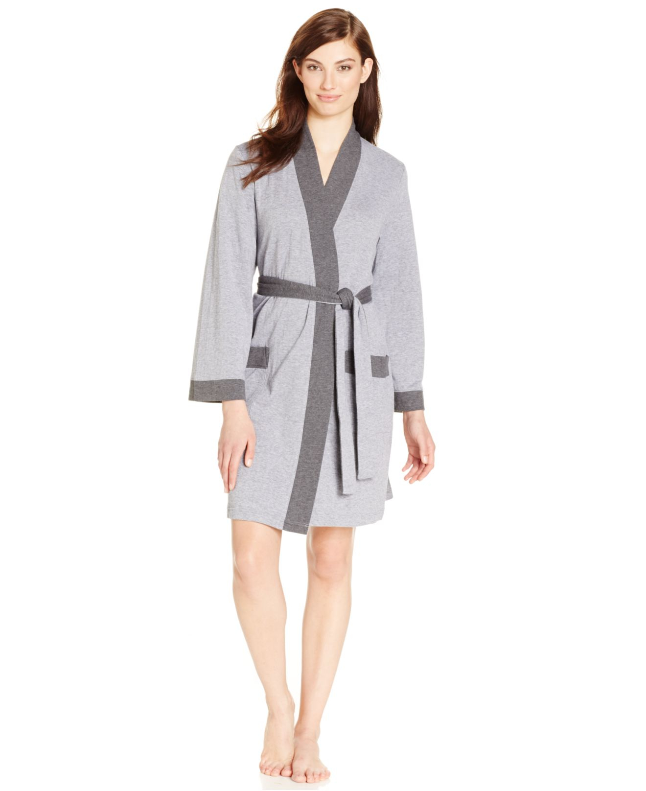 Charter Club Double Knit Robe In Gray (Charcoal Heather