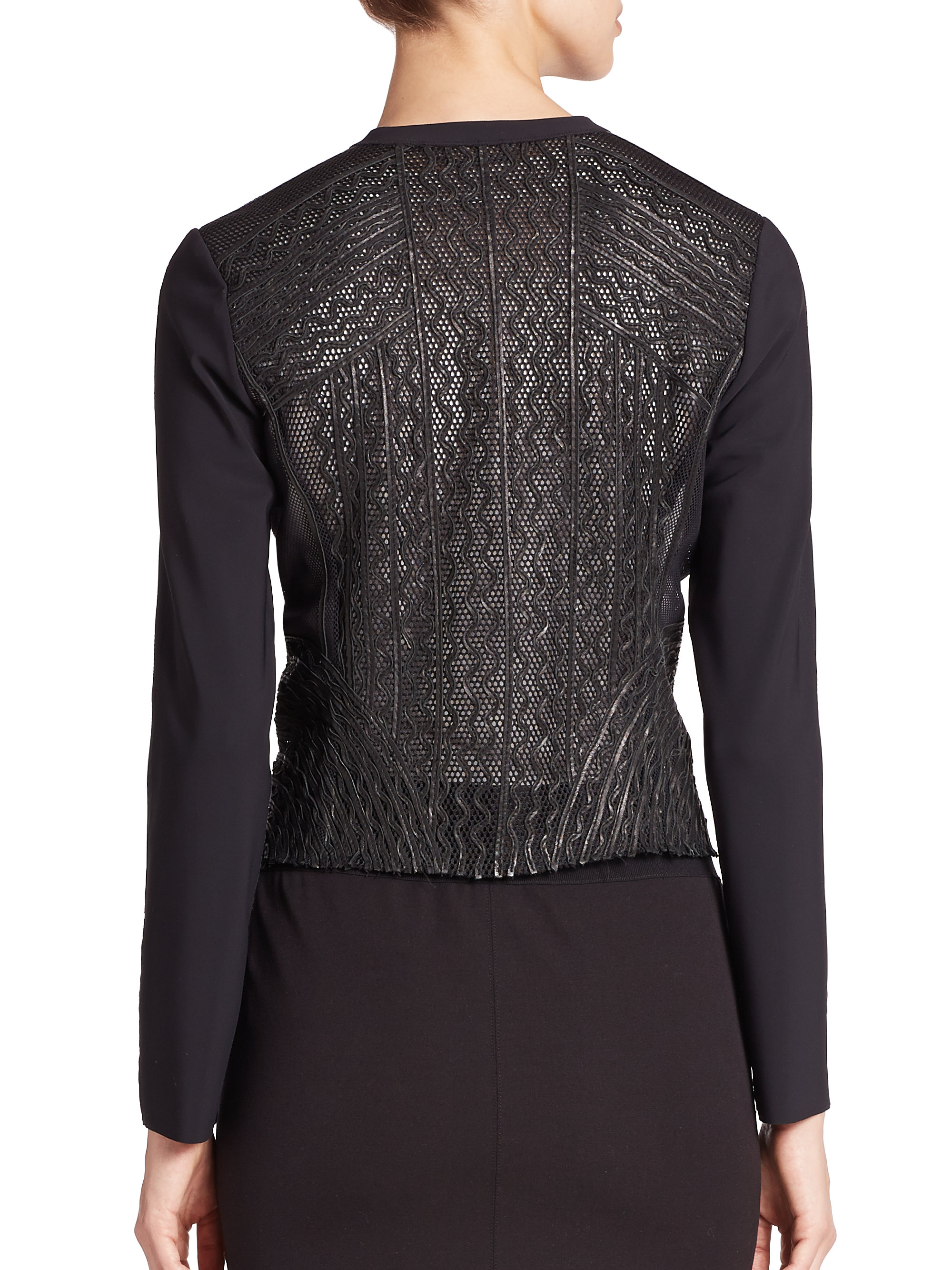 Lyst Elie Tahari Cleary Leather Embroidered Jacket In Black