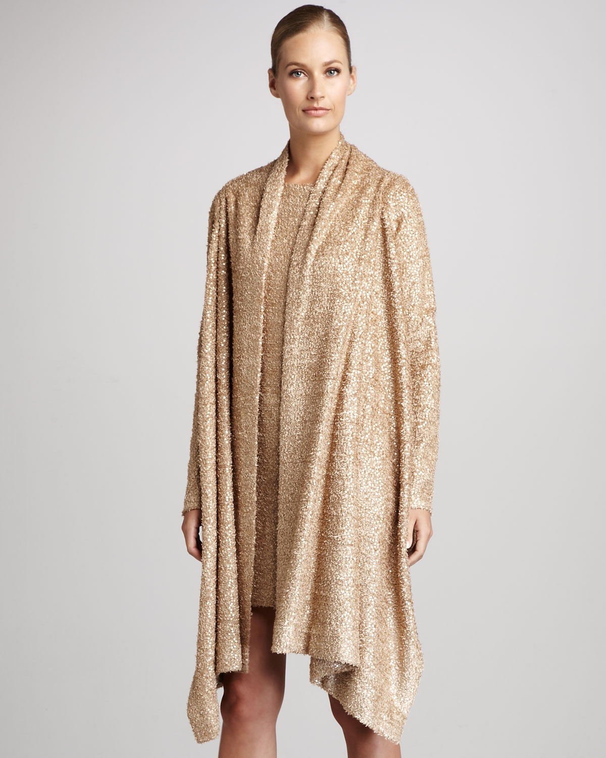 Misook Sparkle Sweater Wrap in Natural | Lyst