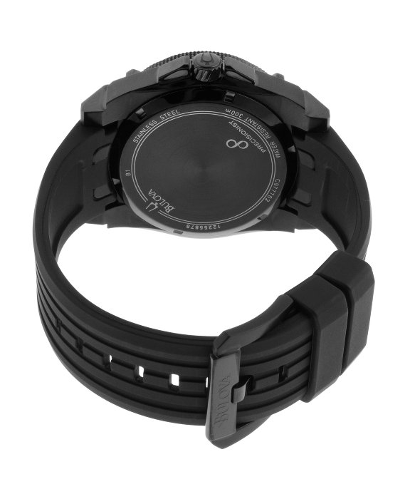 0fc2db35e41 Lyst - Bulova Men s Precisionist Black Rubber And Carbon Fiber Dial ...