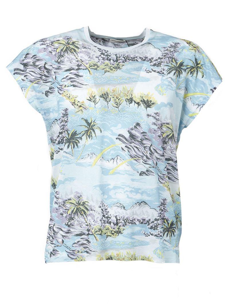 Lyst saint laurent hawaiian print t shirt in blue for men for T shirt printing hawaii