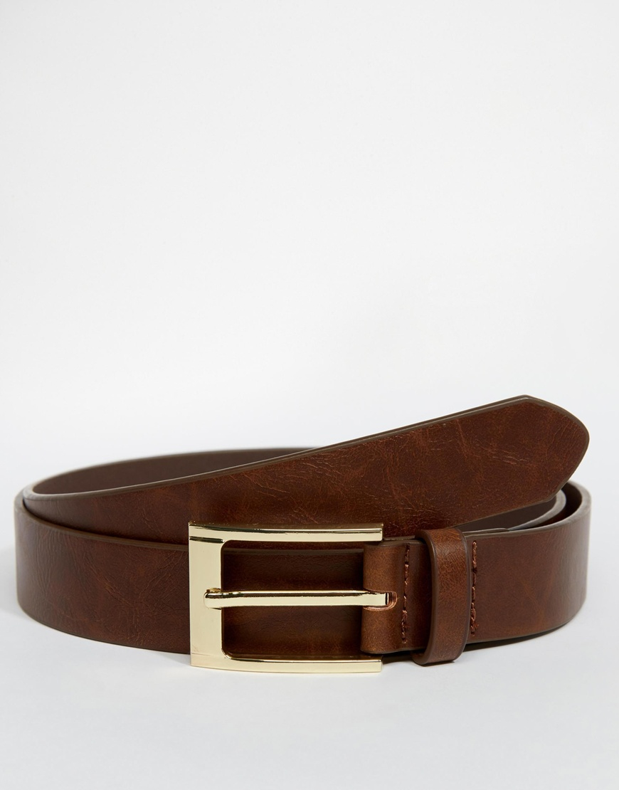 asos smart belt in brown faux leather in brown for lyst