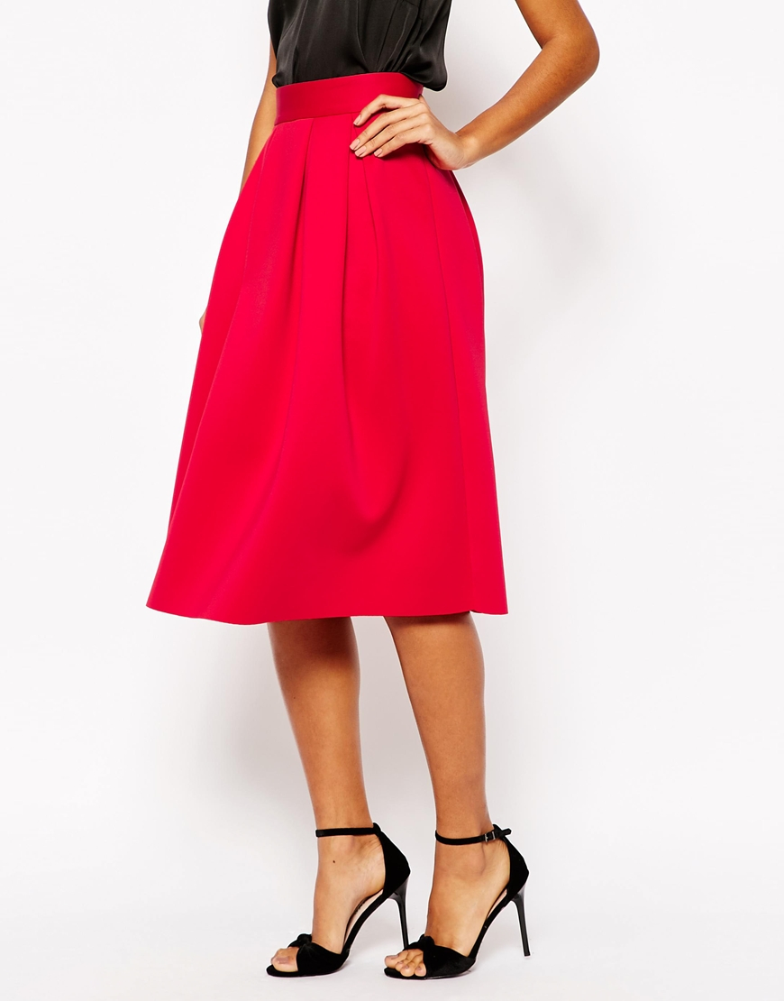 unequal in performance reasonably priced best selection of 2019 ASOS Synthetic Midi Prom Skirt In Scuba in Red - Lyst