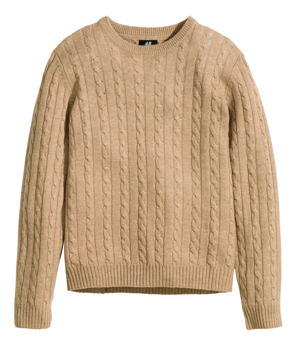 918eb9d94 H M Wool-blend Cable-knit Jumper in Natural for Men - Lyst